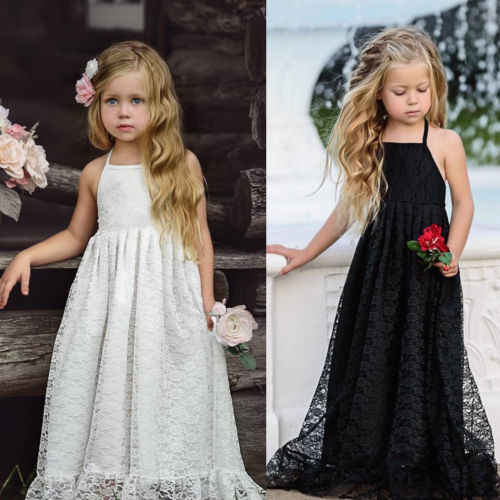 PUDCOCO Kid Girl Lace Flower Dress Maxi Long Princess Party Gown Party Formal Dresses Gift