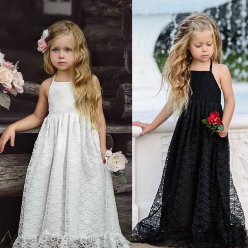 PUDCOCO Kid Girl Lace Flower Dress Maxi Long Princess Party Gown Party Formal Dresses Gift tipi tent kinderkamer