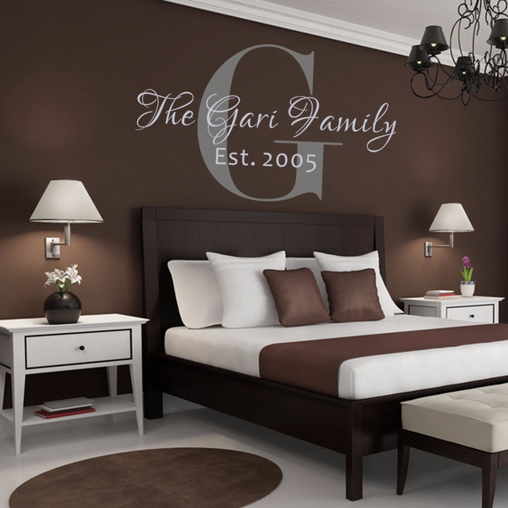 Beautiful Family Monogram Wall Decal  Personalized Wall Decal   Name Wall Decal    Family Name Wall