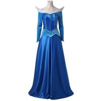 Аврора Спящая Красота Косплэй костюм принцессы Для женщин голубое платье для девочек Горячая вечерние мультфильм Хэллоуин наряд прекрасны