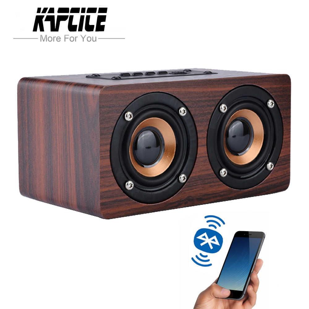 KAPCICE Деревянный беспроводной Bluetooth динамик Портативный hifi шок бас-динамики TF caixa де сом Саундбар для iPhone Sumsung Xiaomi