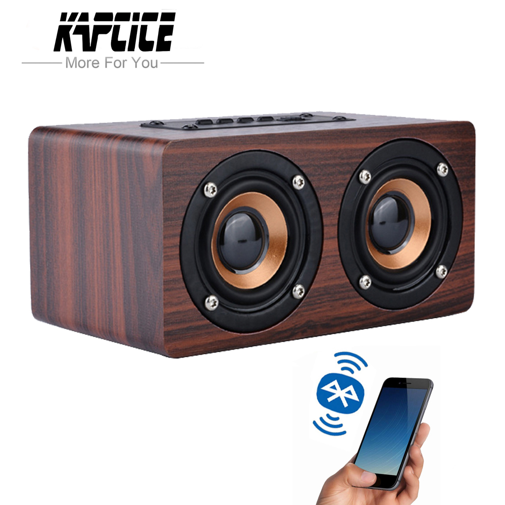 KAPCICE Wooden Wireless Bluetooth Speaker Portable HiFi Shock Bass Altavoz TF caixa de som Soundbar for iPhone Sumsung Xiaomi