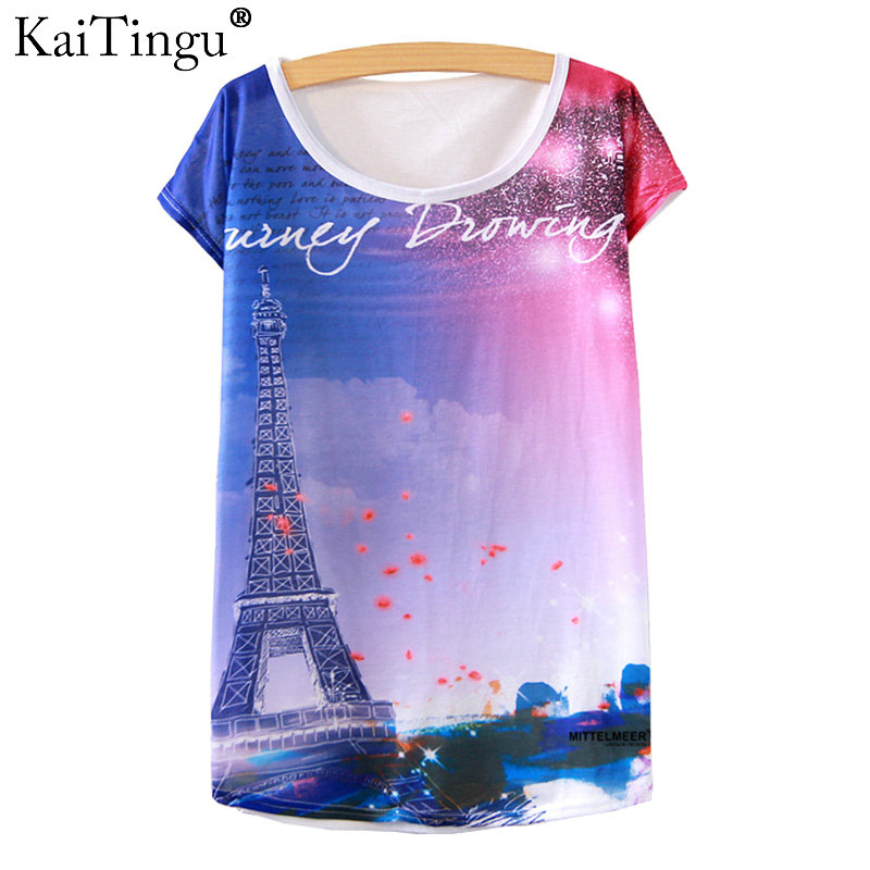 KaiTingu 2017 Brand New Version Fashion Summer Harajuku Short Sleeve Women T Shirt Tops Eiffel Tower Print T-shirt White Clothes
