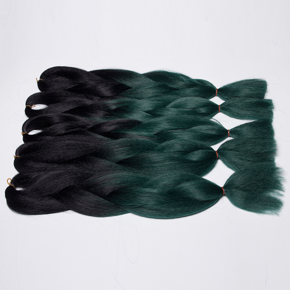 Qp Hair Green Ombre Kanekalon Braiding Hair 24 Inch Jumbo Braids Black Green Braid Synthetic Extensions Crochet Twist Hair 10pcs Jumbo Braids