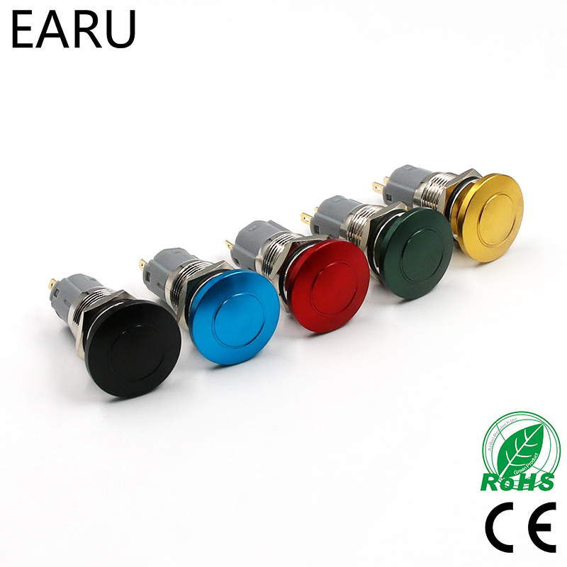 DIY 16mm 19mm Metal Waterproof Push Button Switch Emergency Stop Mushroom Head Cap Colorful Green Red Elevator Lift Escalator 19mm metal waterproof aluminum push button switch mushroom emergency stop button press button 19mgjt stop l s kb