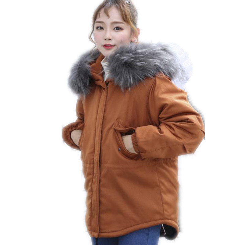 2018New Hooded Fur Collar Winter Women Jackets Female Loose Down Jacket Winter Coats Warm Thicken Cotton-Padded   Parkas   CQ2648