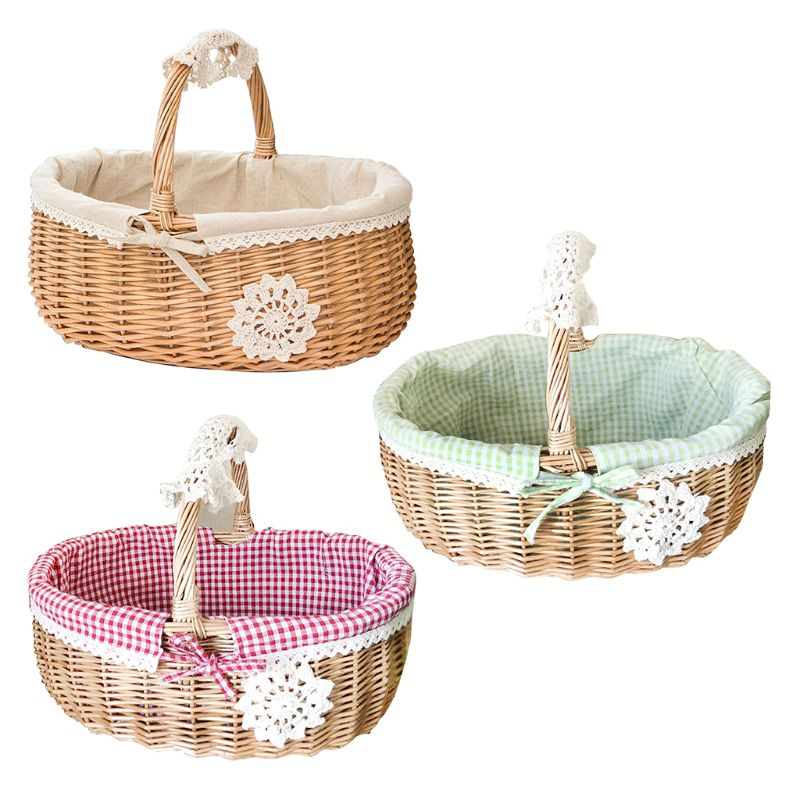 Portable Wicker Willow Storage Basket Woven Lined Egg Fruit Hamper Shopping Picnic Kitchen Supplies