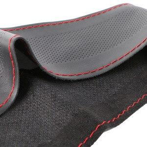Image 5 - En hakiki deri direksiyon kılıfı nefes tasarım/otomatik direksiyon simidi örgü kılıf fit araba suv çapı 36cm 38cm 40cm