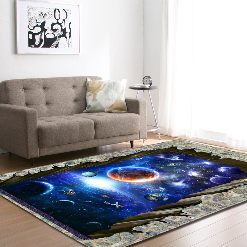 Nordic Style 3D Cosmic Planet Carpet Large Size Living Room Bedroom Tea Table Rug and Carpet Rectangular Antiskid Floor Mat image