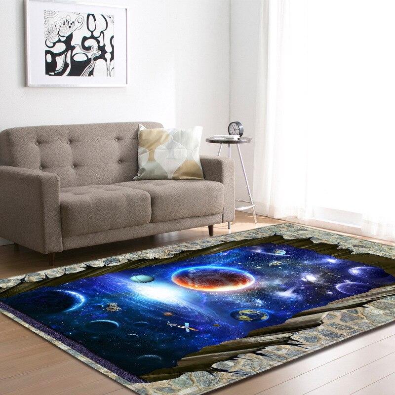 Style nordique 3D cosmique planète tapis grande taille salon chambre thé Table tapis et tapis rectangulaire antidérapant tapis de sol