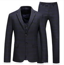 (Jacket+Vest+Pants) 2018 Mens fashion wedding Suits Slim Fit Coat Stripe Tuxedo Prom Suits men 3 pieces suit 2018