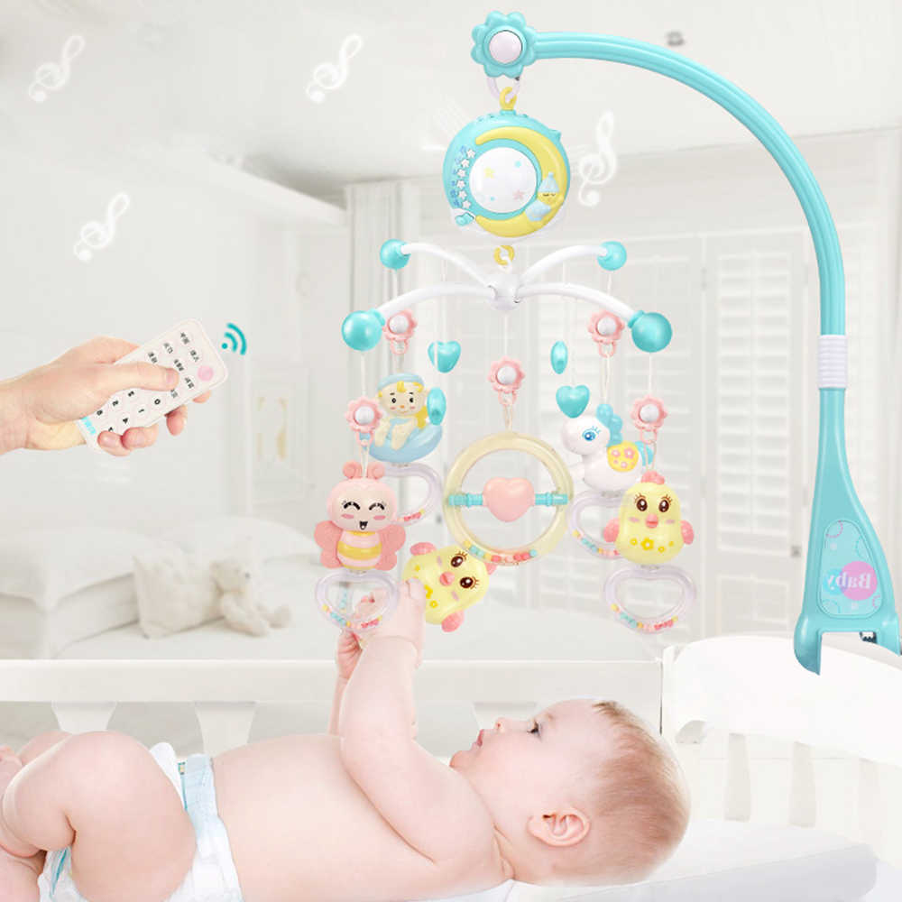 Baby Toys 0-12 Months Infant Rattles Musical Crib Mobile Holder Rotating Crib Bell With Music Box Projector Educational Toys