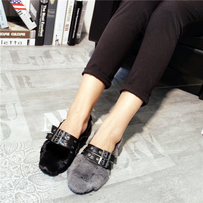 Fashion Women Soft Fur Shoes Womens Flats Female Casual Slip On Belt Loafer Flats For Women Cozy Shoes cresfimix zapatos women cute flat shoes lady spring and summer pu leather flats female casual soft comfortable slip on shoes