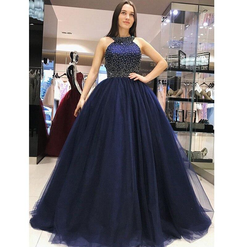 Custom made Ball Gown Prom Dress Open Back Sleeveless Beadings Tulle Women Elegant Formal Evening Dresses