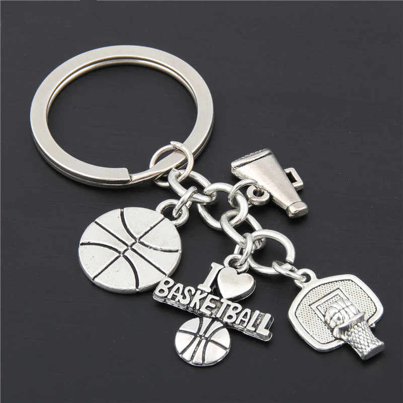 "1 шт. серебряный кулон I Love Soccer/Бейсбол/брелок ""Баскетбол"" с брелок для ключей подарок для автомобиля фурнитура для брелоков для ключей Cheer Jewelry"