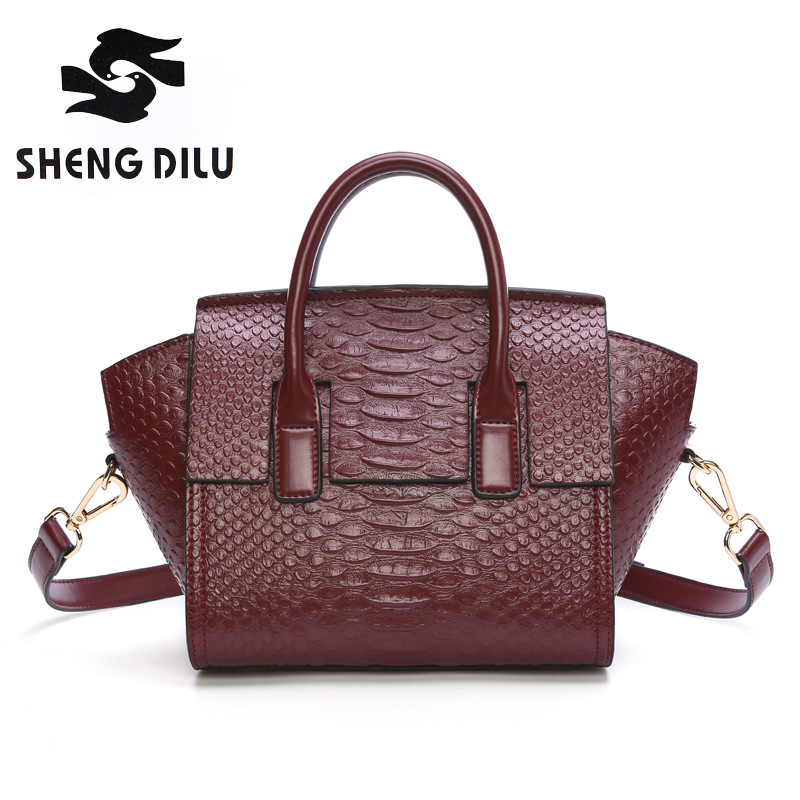 ФОТО 2017 ShengDiLu Vintage Genuine leather bags Cow leather bags handbags women famous brands designer high quality tote bag