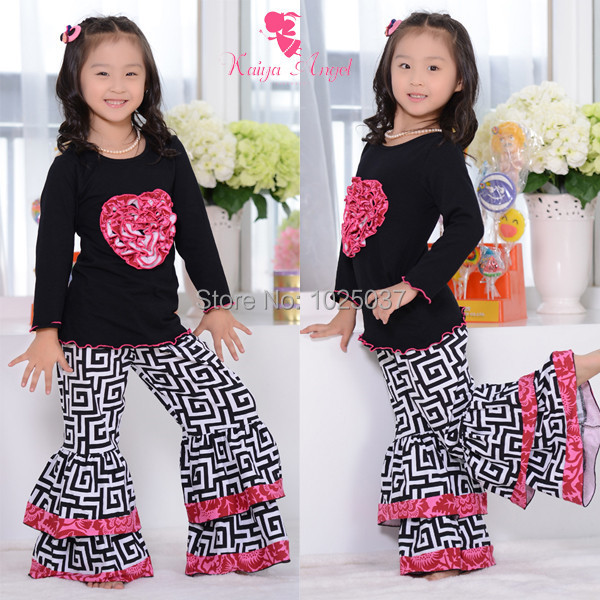 latest valentines floral cotton ruffle kids girls boutique clothing set with heart kids ruffle outfits free shipping in clothing sets from mother kids on - Girls Valentine Outfits