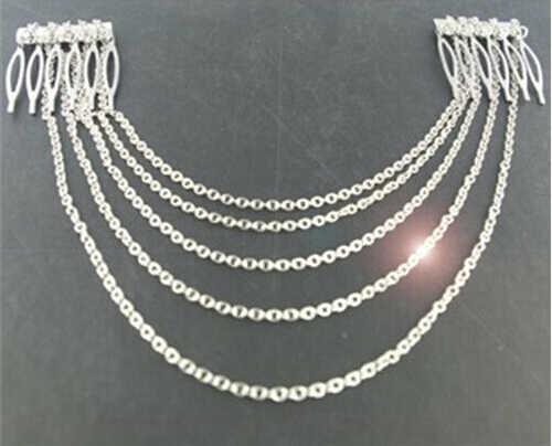 Модные панк заколки для волос на заколках 2 расчески кисточки цепочки на голову серебро/золото свадебные аксессуары ювелирные изделия для волос JWD131