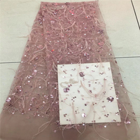 VILLIEA African Lace Fabric 2018 High Quality Feather Lace Tulle Lace Fabric African French Net Lace Fabric For Eveing Dress