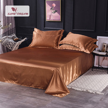 Slowdream Bedding Linen European Solid Color Coffee Silky Luxury Flat Sheet Double Queen King Size Home Textiles 1PCS