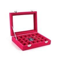 1 Stücke 24 Grids Schwarz Rose Rote Samt Schmuckschatulle Ringe Ohrringe Halsketten Make Halter Fall Frauen Schmuck Speicher Heißer