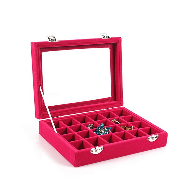 Aliexpresscom Buy 1Pcs 24 Grids Black Rose Red Velvet Jewelry Box