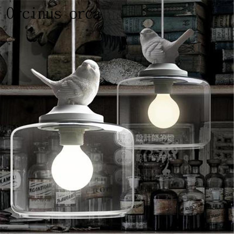Nordic Restaurant Bar creative children's room balcony entrance stairs single head glass bird shaped Chandelier