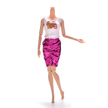 1 Juego para muñecas Barbies ropa blanca camiseta sin mangas con falda con rosa
