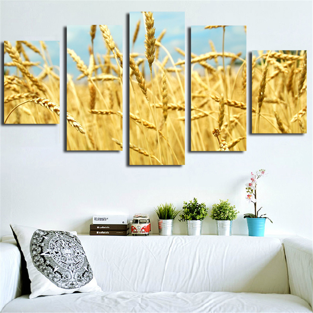 UnFrame Canvas Painting Golden Grain Oil Painting Modern Modular ...