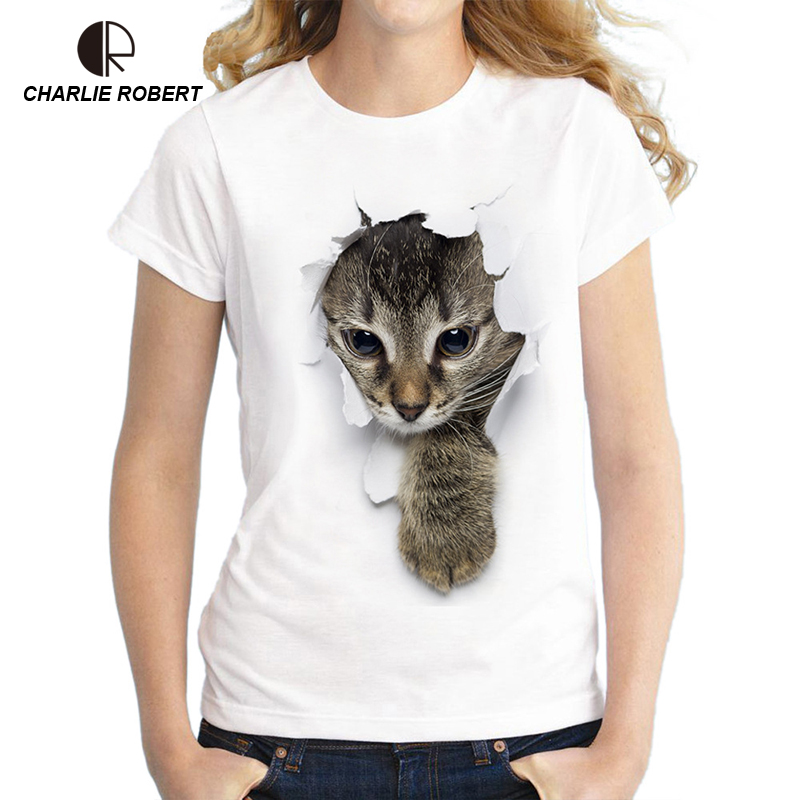 CR 2018 3D Cat T shirt Plus Size Women harajuku Shirt Good Quality Comfortable Cotton Tops Free Shipping