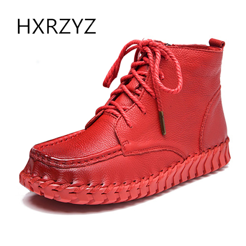 HXRZYZ women ankle boots handmade genuine leather boots spring/autumn new fashion ladies lace-up add cotton female winter boots women ankle boots 2016 round toe autumn shoes booties lace up black and white ladies short 2017 flat fashion female new chinese