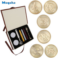 Mogoko Classic Vintage Style Brass Color Antique Alphabet Initial Letter Sealing Wax Stamp Set Retro Seal