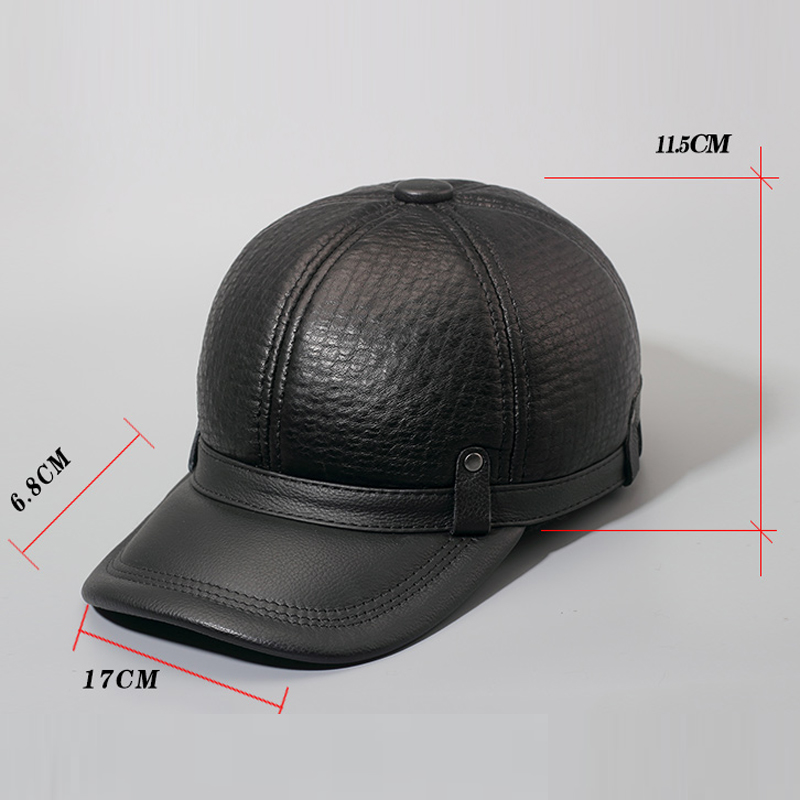 3ce1b5edfbd3f Svadilfari New 2018 Winter Warm Real Sheepskin Hat Solid Unisex Adjustable  Genuine Leather Baseball Cap Casual Men Women Black