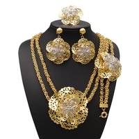 YULAILI 2018 Free Shipping High Quality Flower Design Engagement Dubai Pure Gold Plating Party Jewelry Sets
