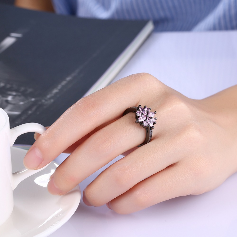 HIYONG Sparkling Floral Design Thin Wedding Band Ring Semi Eternity ...