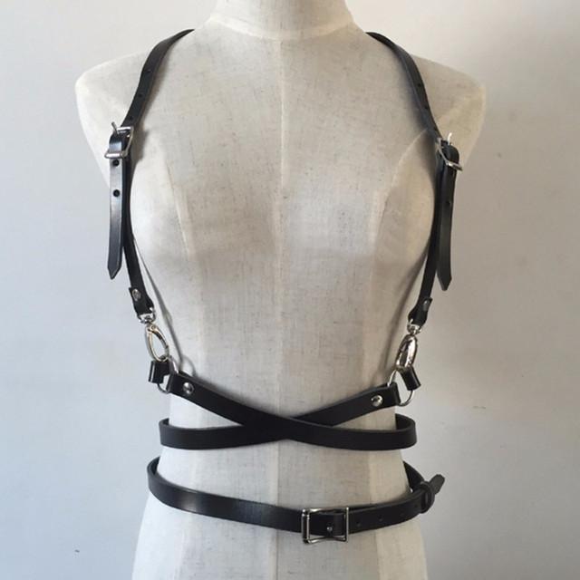 Fashion Punk Harajuku O-ring Body Garters Faux Leather Bondage Cage Sculpting Harness Waist Belt Straps Suspenders Belt GPD8244