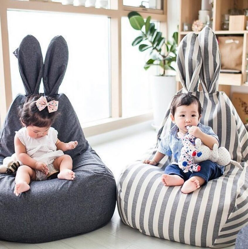 Cute Creative Children Simple Stripes Lazy Sofa Rabbit Baby Chair Seat With Filler Kids Black&Pink&Stripe Casual Tatami Bean Bag