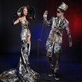 Mujeres Multicolor Impresión Trajes de Mujer Sexy Ds Danza Jazz Hiphop Noche Traje Dj Cantante Bar Vestido de Desgaste de la Etapa Espectáculo
