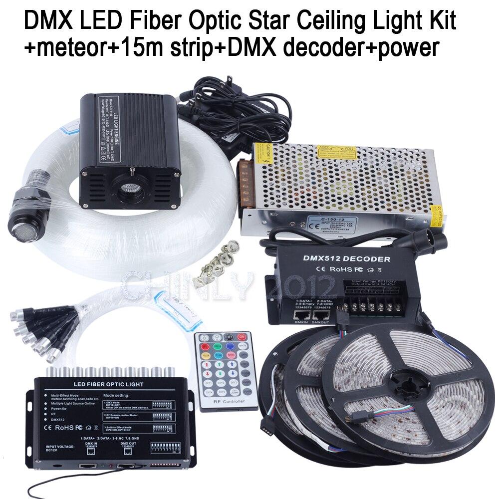 DMX Fiber Optic Star Ceiling Kit 16W RGBW Decoder Control 15m Strip 4m mixed 335strands Fiber