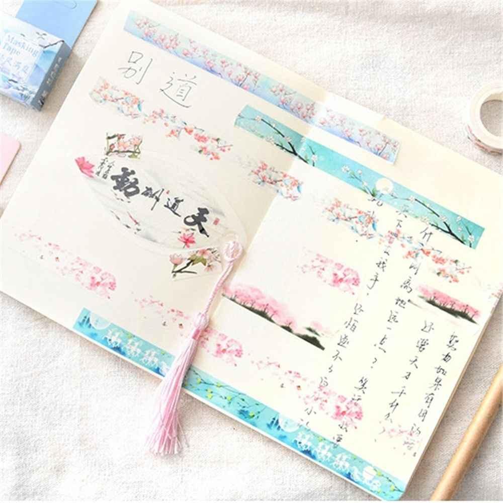 1 pièces fleur chutes Kawaii déco papier adhésif masquage à fleurs Washi bande autocollants Scrapbooking bureau décoration mignon papeterie