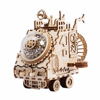 Robotime 3D Puzzle DIY With Movement Assembled Model Wooden For Children Music Box Spaceship AM681 NEW