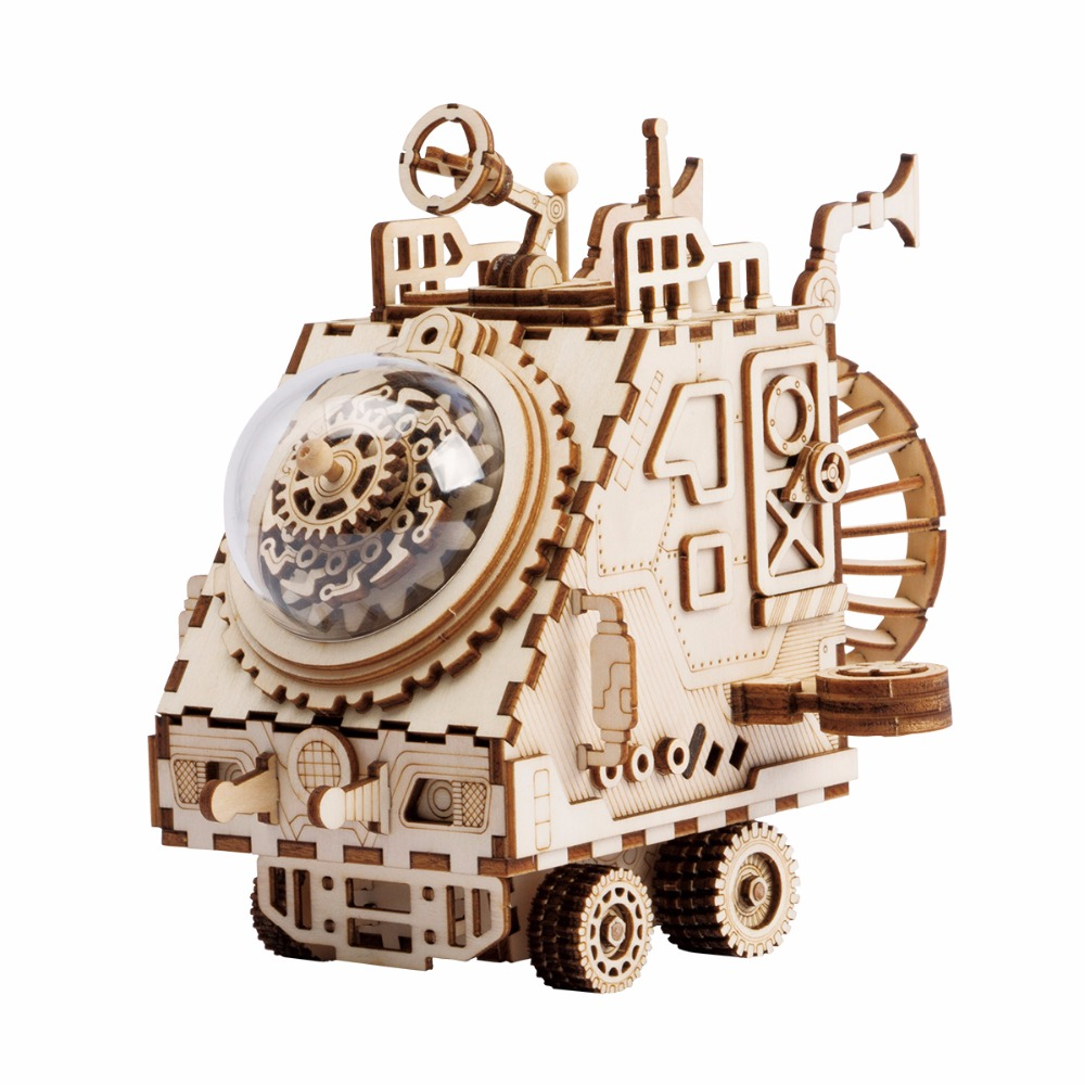 Robotime DIY 3D Moveable Spaceship Puzzle Assembled Wooden Model toys for Children girl boys brain training Music Box gift AM681 children best gift fashion sex red color diy metal supper car assembled model toys