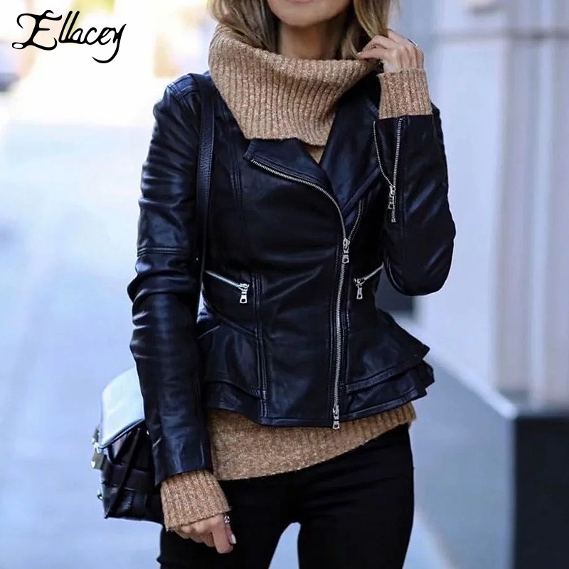 Ellacey Autumn Winter   Leather   Jacket Women 2019 European and American Fashion Motorcycle Biker Jacket Zipper PU   Leather   Jacket