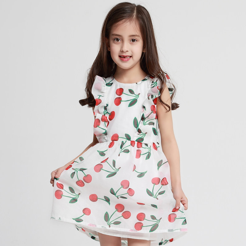 2018 Cute Girls Summer Flutter Sleeves Dress Cherery Fruit Clothes for Teens Sweet Clothing Party 6789 10 11 12 13 14 Years Old недорго, оригинальная цена