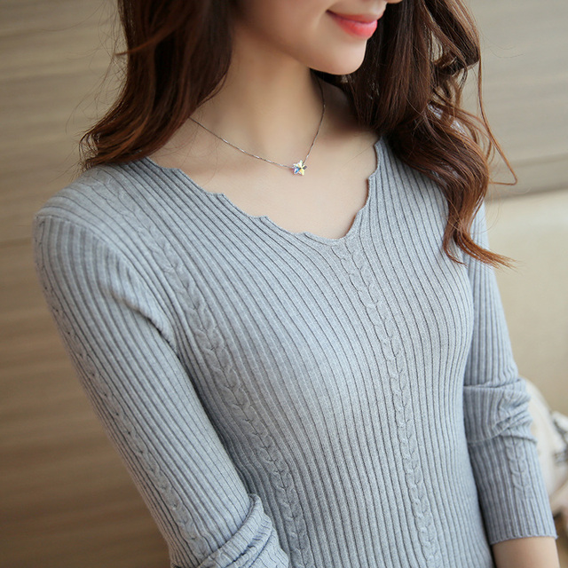 new 2016 Autumn spring fashion women V-neck long-sleeve basic knitted shirt female sweater top girls slim pullover clothing