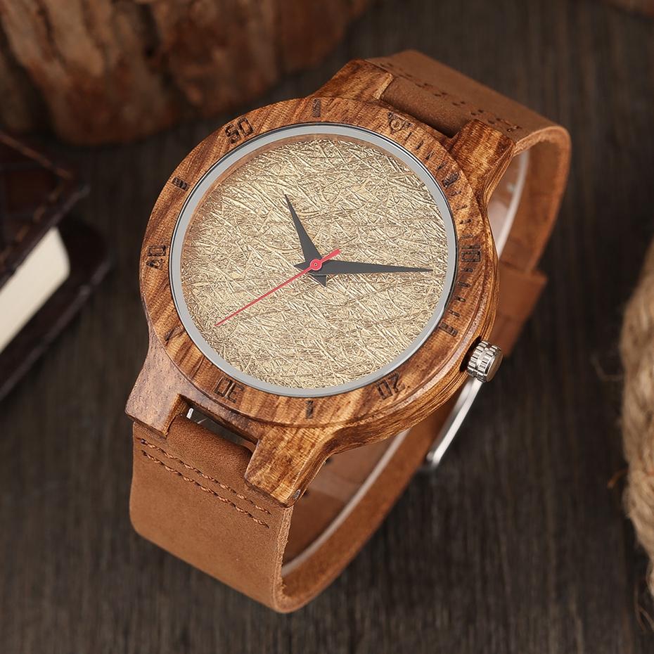 Unique Stripes Lines Dial Wooden Watch Mens Bamboo Creative Quartz Clock Genuine Leather Bangle Reloj de madera 2017 New Fashion  (8)
