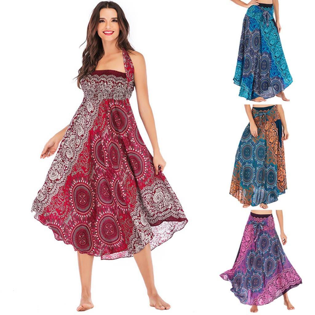 Faldas Mujer Moda 2020 Plus Size Women Long Hippie Bohemian Gypsy Boho Flowers Elastic Waist Floral Halter Skirt 50