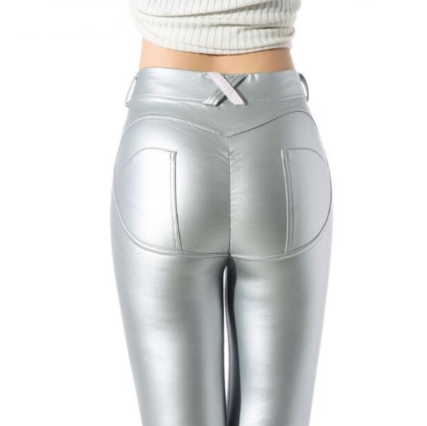 Hot 2019 nouveau Sexy femme Leggings Jegging décontracté Skinny crayon pantalon femmes mode grande taille Harem pantalon fille en cuir pantalon - 6