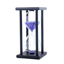 60 Minutes Simple Black Flame with White Purple Sand Hourglass Four Square Wooden 1hour Timer Room Decoration S