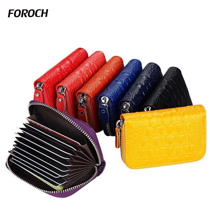 FOROCH Brand Women Crocodile Zipper Credit Card Holder Genuine Cow Leather Fashion Cardh ...